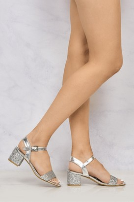 Miss Diva Ruby Block Heel Glitter Ankle Strap In Silver