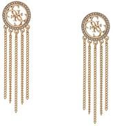 GUESS Logo Drop Earrings with Chain Fringe (Gold) Earring