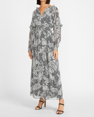Express Paisley Smocked Waist Long Sleeve Maxi Dress