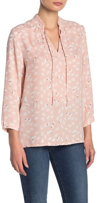 Halogen Pleated Neck 3/4 Sleeve Keyhole Blouse (Regular & Petite)