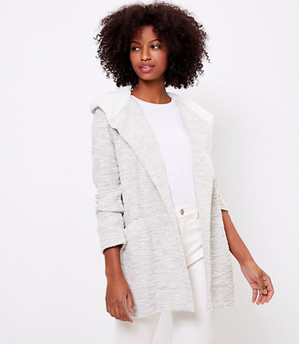 LOFT Sherpa Hooded Open Cardigan
