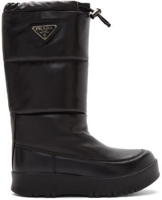 Prada Black Leather Moon Boots