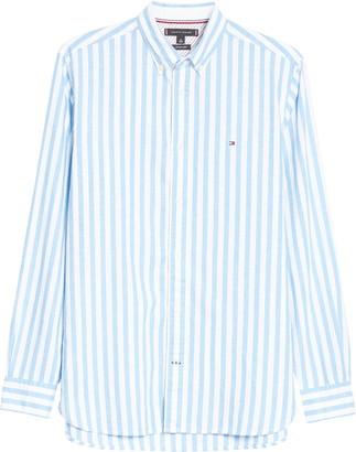 Tommy Hilfiger Regular Fit Stripe Cotton & Linen Button-Down Shirt