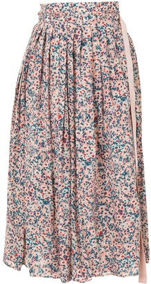 No.21 Floral Pleated Midi Skirt
