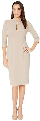 Donna Morgan Long Sleeve Crepe Sheath with Twisted Neckline (Taupe) Women's Dress