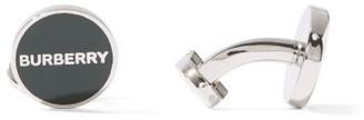 Burberry Enamelled-logo Cufflinks - Green Silver