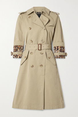 R 13 Belted Satin-trimmed Cotton-gabardine Trench Coat - Beige