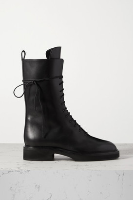 KHAITE Conley Lace-up Leather Ankle Boots - Black