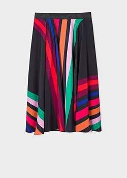 Women's Black Multi-Coloured Stripe Midi Skirt