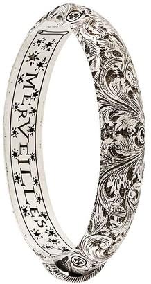 Gucci Engraved Fleur De Lis Bangle