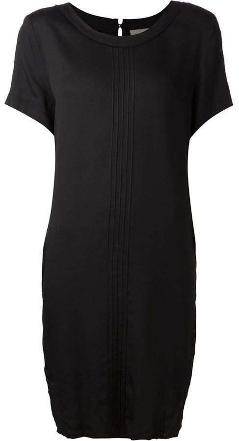 Sea pintucked lace-combo dress