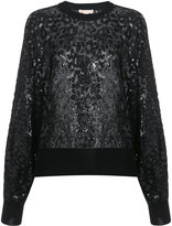 Michael Kors sequen leopard pattern sweatshirt