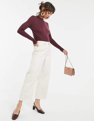 Vero Moda high neck long sleeved top in burgundy-Brown