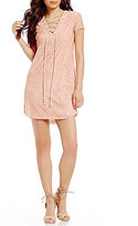 B. Darlin Lace-Up V-Neck Lace Shift Dress