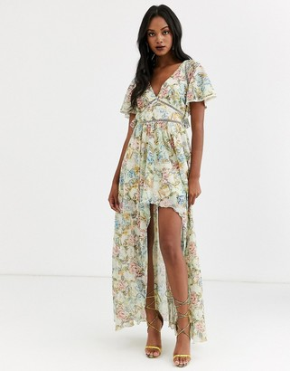 Asos Design DESIGN maxi dress in trophy floral print and ladder lace trims