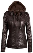 Cityelf Women's Detachable Collar Long Sleeve Solid Color Leather Jacket Coat WTW0050 (L, )