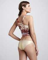 Jean Paul Gaultier Printed Tankini with Gold Bottoms