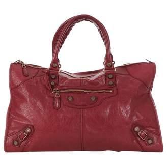 Balenciaga Burgundy Leather Handbags