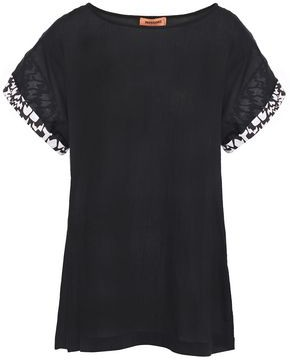 Missoni Printed Poplin-trimmed Cotton-gauze T-shirt