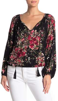 Love Stitch Floral Print Tassel Split Neck Blouse