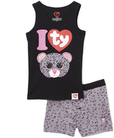 Intimo Black Beanie Pajama Set - Girls