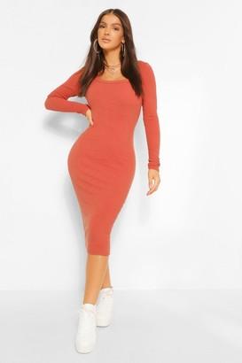 boohoo Premium Ribbed Scoop Neck Midi Dress