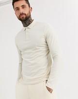 Asos Design ASOS DESIGN organic long sleeve jersey polo in beige