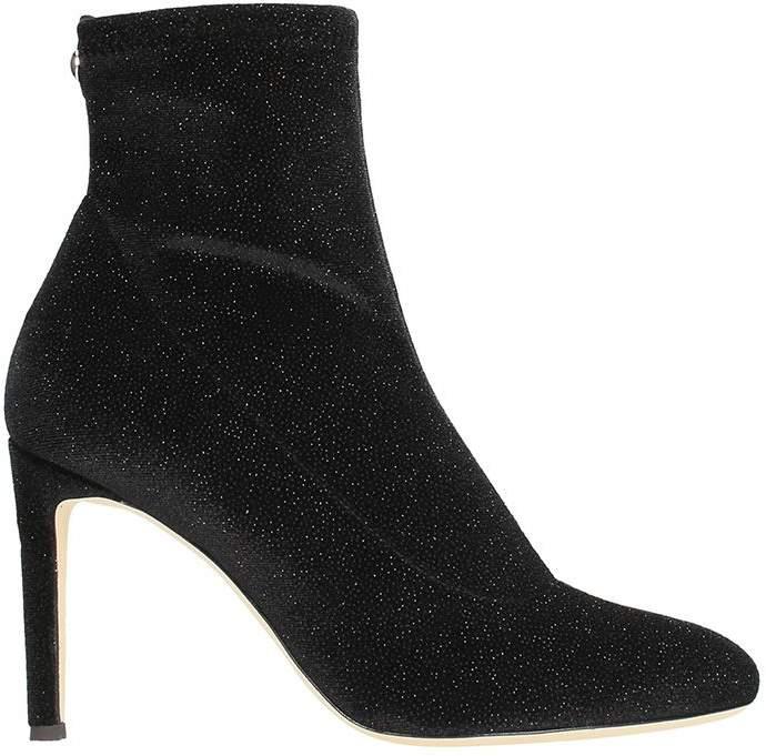 Giuseppe Zanotti Celeste Velvet Black Glitter Ankle Boots