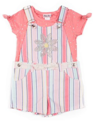 Little Lass Printed Twill Shortall and Fashion Top, 2-Piece Outfit Set (Little Girls)