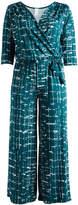 Glam Green & White Crosshatch Surplice Jumpsuit - Plus