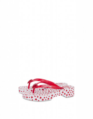 Love Moschino Flip Flop Sandals With All Over Hearts