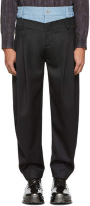 Feng Chen Wang Black Wool Denim Mix Trousers
