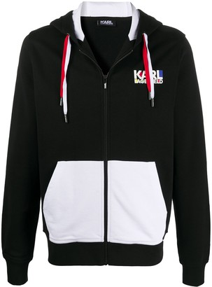Karl Lagerfeld Paris Two-Tone Zip-Up Hoodie