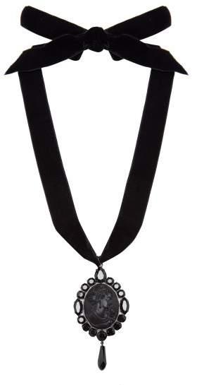 Miu Miu Cameo Pendant Velvet Necklace - Womens - Black