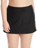 Penbrooke Women's Plus-Size Tummy Control Skort with Zipper Pocket Bikini Bottom