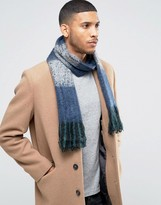 Asos Woven Scarf In Navy Textured Yarn