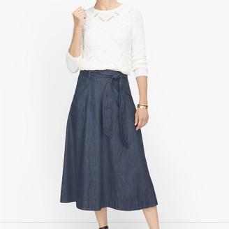 Talbots Tie Waist Denim Skirt