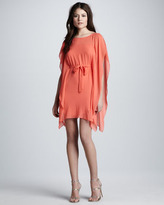 BCBGMAXAZRIA Tie-Front Flutter-Sleeve Dress