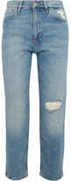 MiH Jeans Jeanne Cropped Distressed Straight-leg Jeans - Light denim