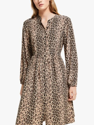 Somerset by Alice Temperley Leopard Print Short Shirt Dress, Natural/Multi