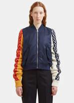 J.W.Anderson Contrast Cable Knit Sleeved Bomber Jacket in Navy