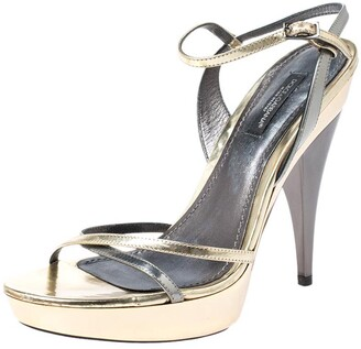 Dolce & Gabbana Metallic Silver/Gold Leather Strappy Platform Sandals Size 39