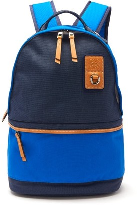 eye/LOEWE/nature Leather-trimmed Canvas Backpack - Mens - Blue