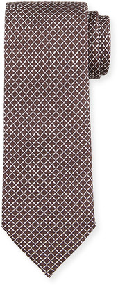 Ermenegildo Zegna Men's Lattice-Print Silk Tie, Brown
