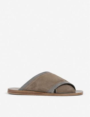 Brunello Cucinelli Bead-embellished open-toe suede sandals