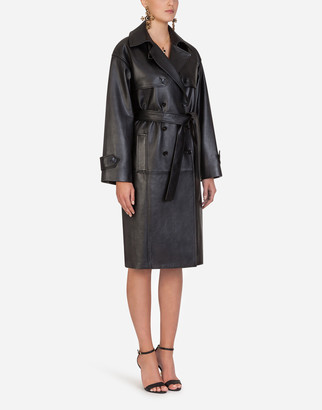 Dolce & Gabbana Double-Breasted Leather Belted Coat