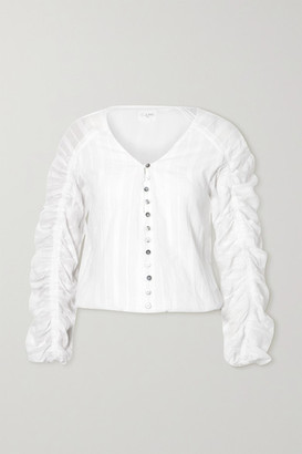 CAMI NYC The Gia Ruched Embroidered Cotton-voile Blouse - White