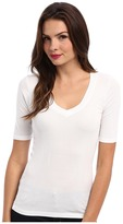 Splendid 1x1 Half Sleeve V-Neck Top Women's T Shirt