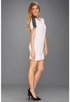 Michael Stars Stripe Dolman Leather Shoulder Dress
