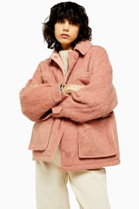 Topshop Womens Pink Brushed Jacket - Pink